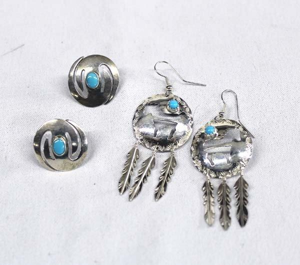 Navajo Sterling Turquoise Earrings by Jeff James