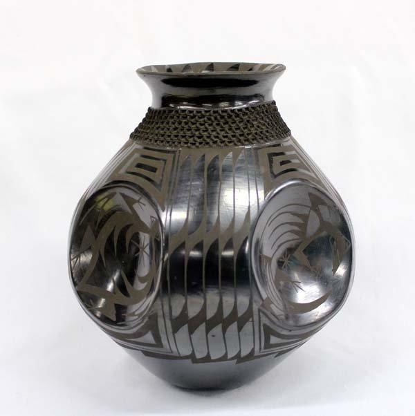 Mata Ortiz Black on Black Pottery by J. Gonzalez