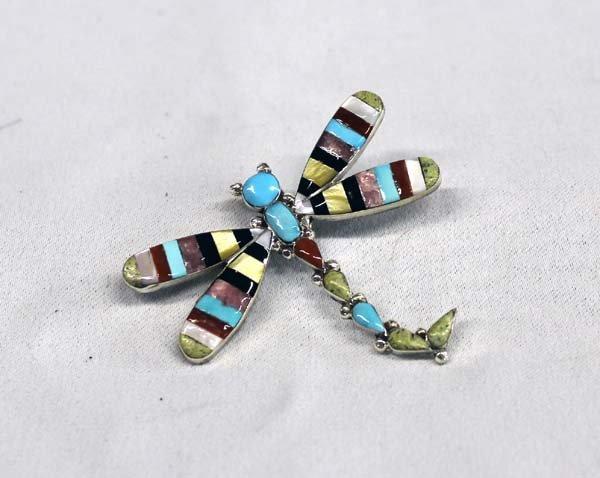 Zuni Sterling Inlay Dragonfly Pin Pendant