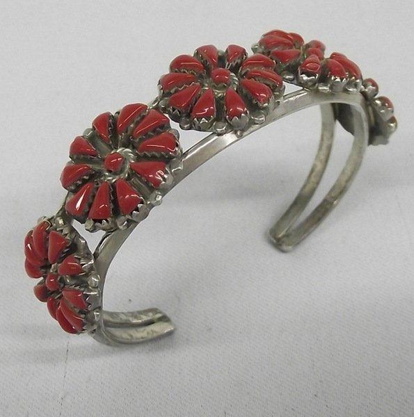 Zuni Sterling Coral Bracelet