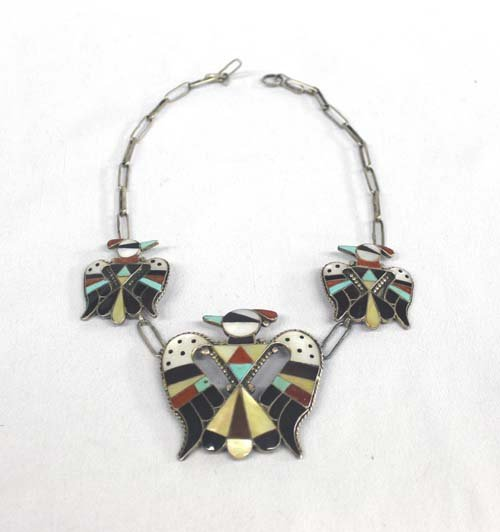 1950 Zuni Sterling Inlay Necklace - Shack