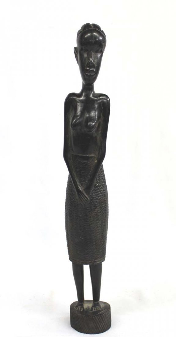 African Carved Ebony Woman Statue