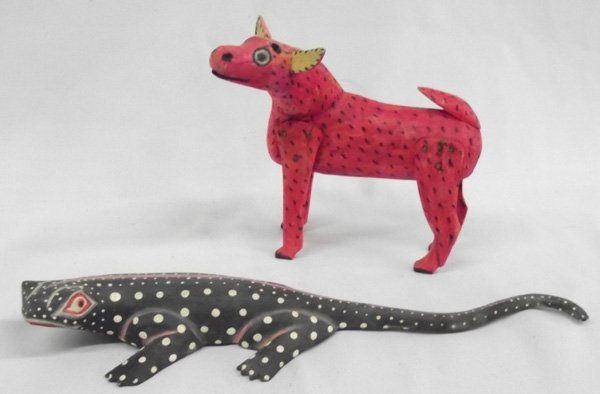 Hand Carved Mexican Oaxacan Lizard and Deer