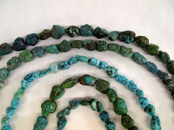 5 Turquoise Nugget Bead Strands various colors