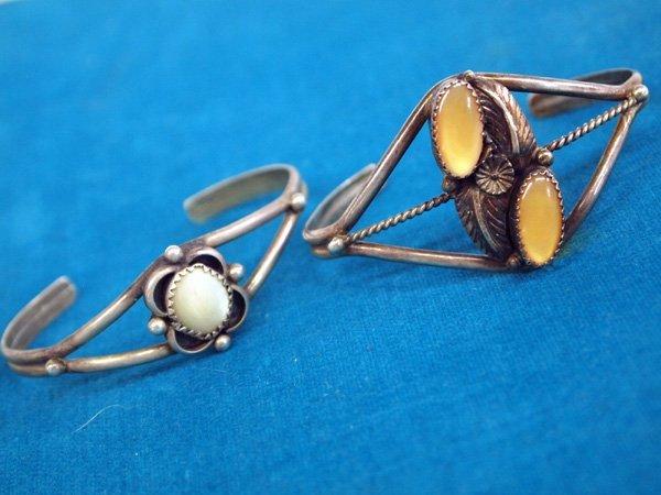 Navajo Sterling Silver Mother of  Pearl Bracelets