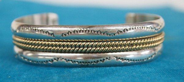 Navajo 12Kt Gold on Sterling Bracelet by Verna Tahe