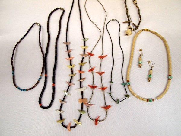 6 Navajo Heishi Multi-Stone Necklaces & 1 pr Earrings