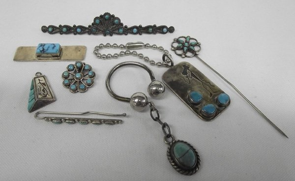 Estate Sterling Turquoise Jewelry, some Hallmarked