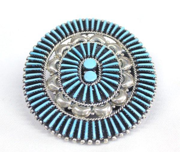 Zuni Petit Point Turquoise Pin Pendant Hallmark