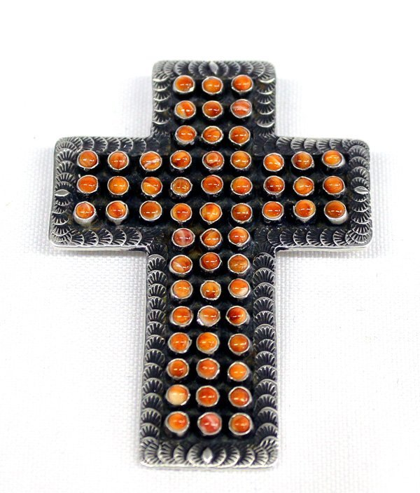 Zuni Sterling Silver Coral Cross Pendant - Cayenta