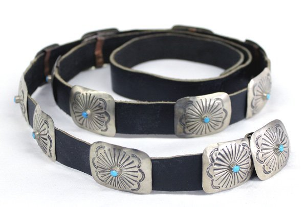 Pawn Navajo Sterling Silver Turquoise Concho Belt