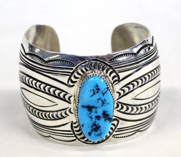 Navajo Sterling Silver Turquoise Bracelet - Bouie