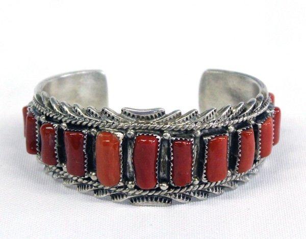 Navajo Sterling Silver Coral Bracelet - Begay