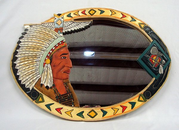 Carved Painted Wooden Chief Mirror
