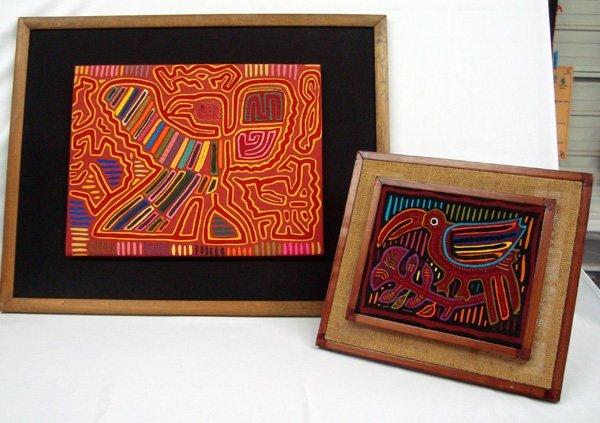 Pr. of Panama Kuna Indian Framed Mola Pictures