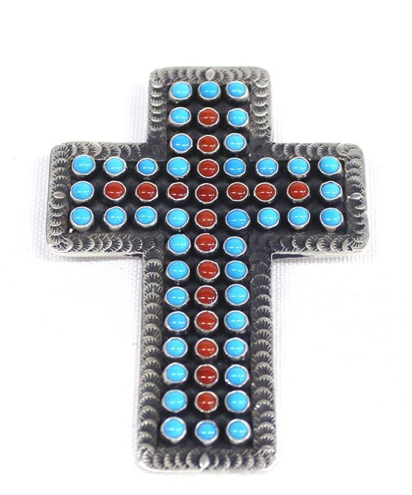Zuni Sterling Silver Cross Pin Pendant - Cayenta
