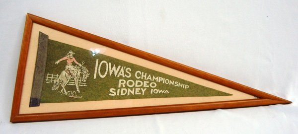 Vintage Framed Rodeo Sidney Iowa Pennant