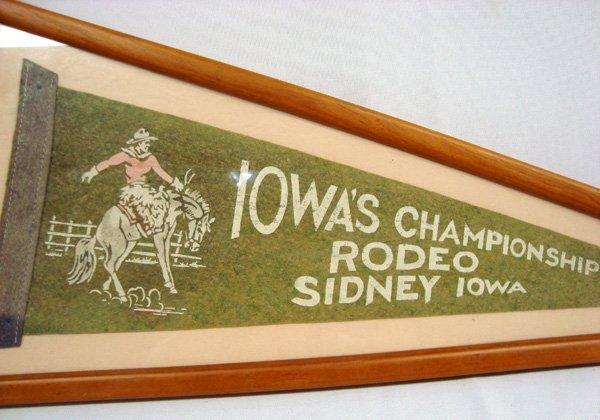 Vintage Framed Rodeo Sidney Iowa Pennant - 2