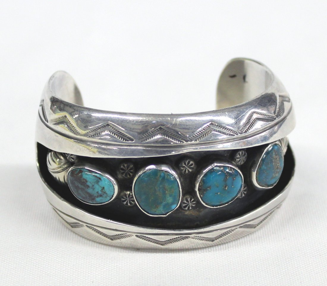 2013A: Navajo Pawn Sterling Turquoise Bracelet