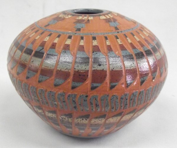 Navajo Etched Polychrome Seed Pot by Elaine Begay