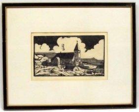 Original Wood Block Picture--Winifred D. Thompson
