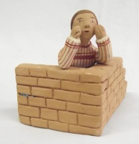 Native American ''Hide And Seek'' Folk Art Pottery