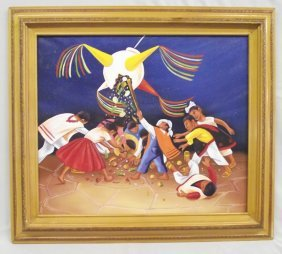 Mexican Pinata Original Signed Painting by Rolando