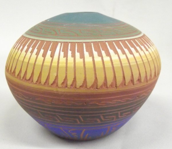 Navajo Etched Pottery by C. Torres - 4