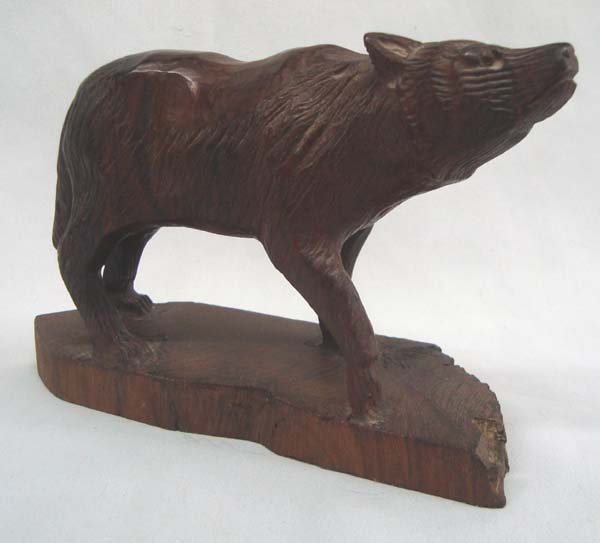 Wooden Wolf Carving