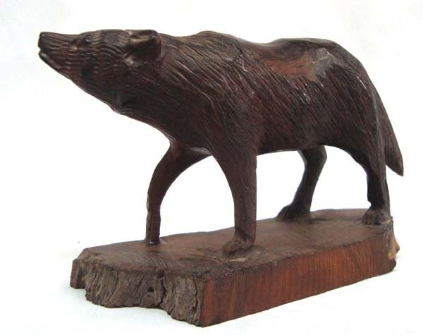 Wooden Wolf Carving - 2