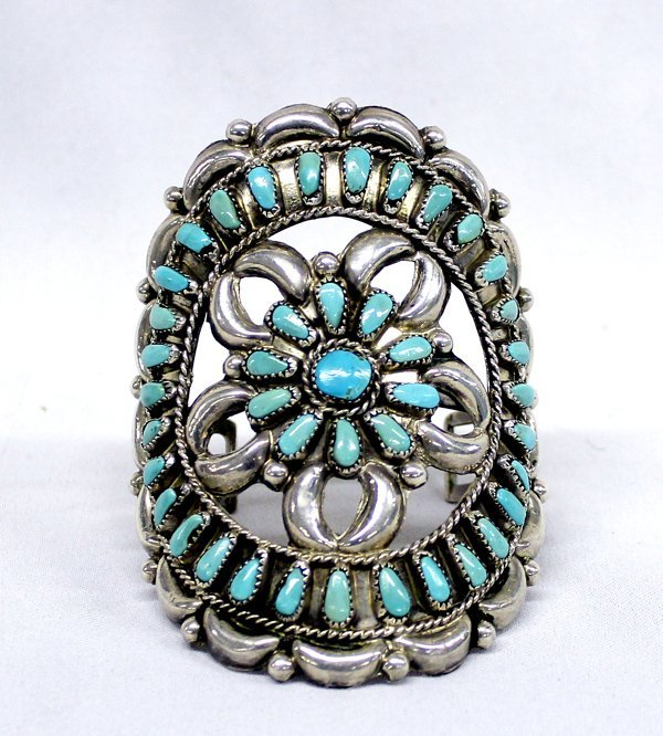 Zuni Sterling Silver Blue Gem Turquoise Cuff  Bracelet