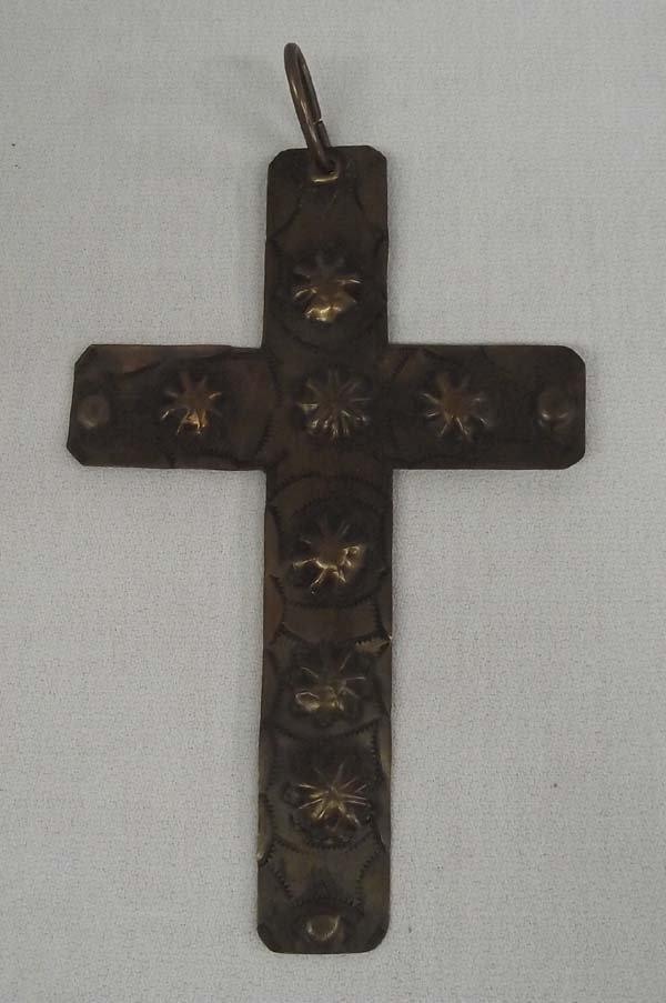Large Vintage Hammered Copper Cross Pendant