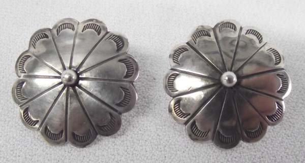 Navajo Pawn Concho Pierced Earrings