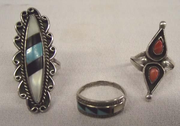 2 Zuni &  1 Navajo Sterling Turquoise Rings