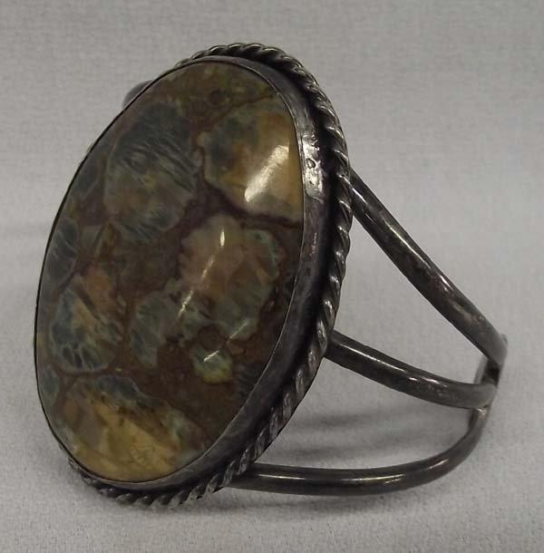Navajo Unakite Sterling Silver Bracelet