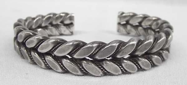 Mexican Heavy Silver Braid Style Bracelet