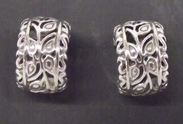 Sterling Silver Filagree Pierced Earrings