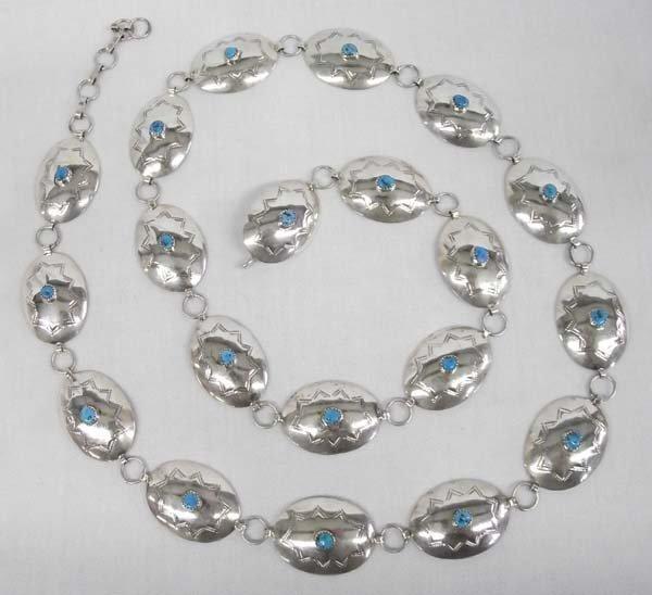 Navajo Silver Turquoise Concho Belt - KS