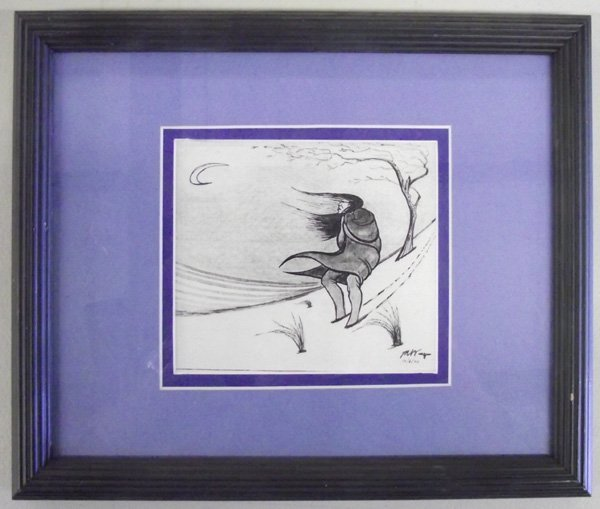 Framed Original Pen/Charcoal Indian Painting