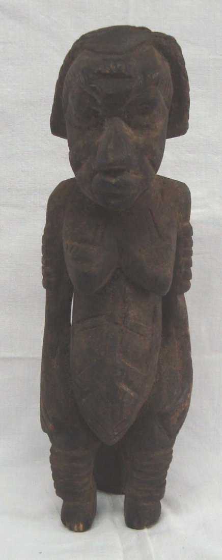 African Wood Carved Pregant Woman on Birthing Stool