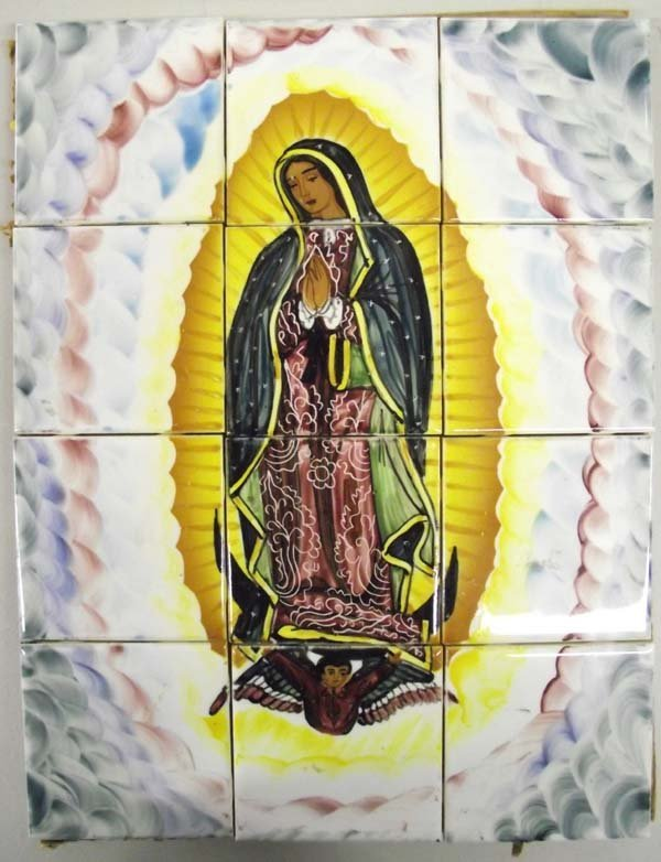 12 Ceramic Tiles Portrait of Santa De la Guadalupe