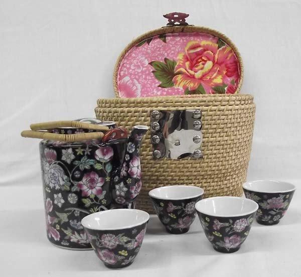 Chinese Wicker Basket Tea Set
