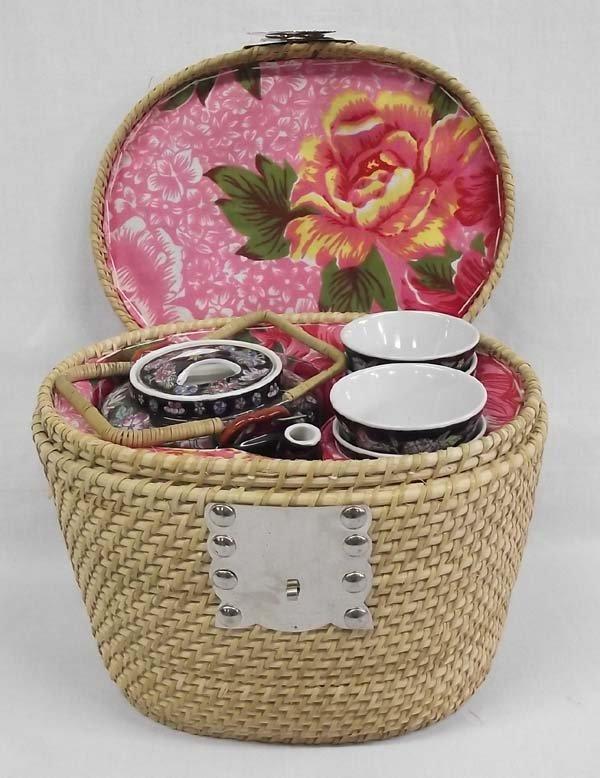 Chinese Wicker Basket Tea Set - 2