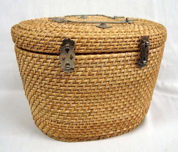 Chinese Wicker Basket Tea Set - 4