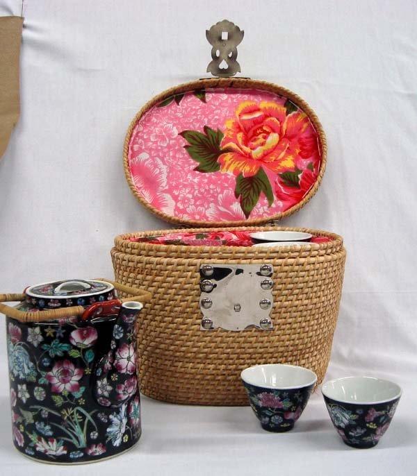 Chinese Wicker Basket Tea Set - 6