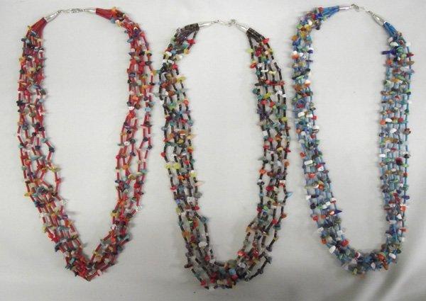 Three Navajo  Multi-strand Stone Necklaces