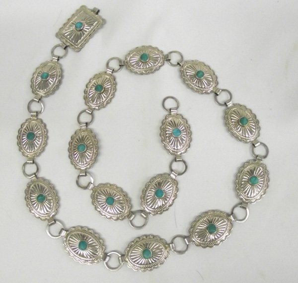 Navajo Old Trading Post Style Nickel Concho Belt
