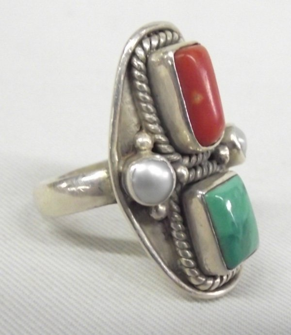 Navajo Turquoise, Pearl and Coral Sterling Ring