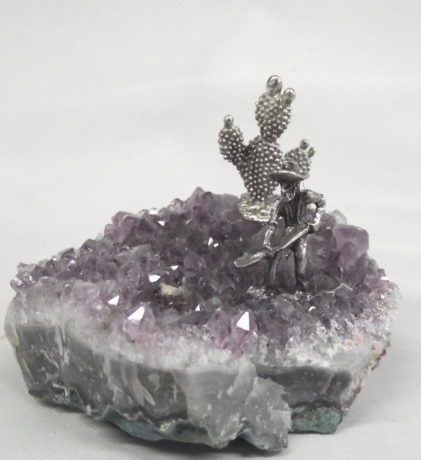 Amethyst Geode with Miner and Saguaro Figures