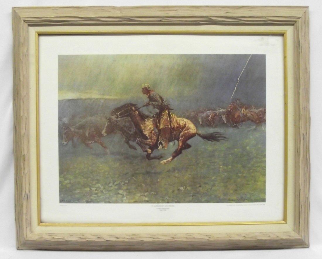 Framed Remington Print, ''Stampeded by Lightning''